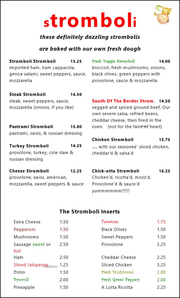 Snuzzles menu